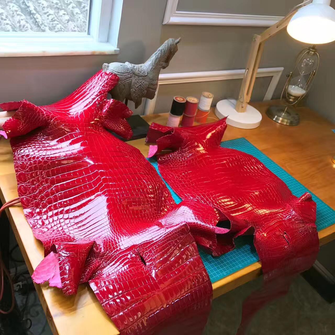 愛馬仕光面鱷魚 Q5 Rouge Cossacks正紅 中國紅