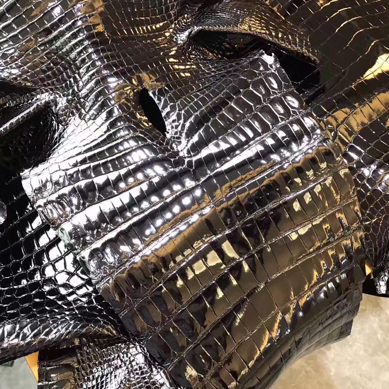 愛馬仕光面鱷魚皮黑色Birkin 30 CK89 Nior 光面經典黑色