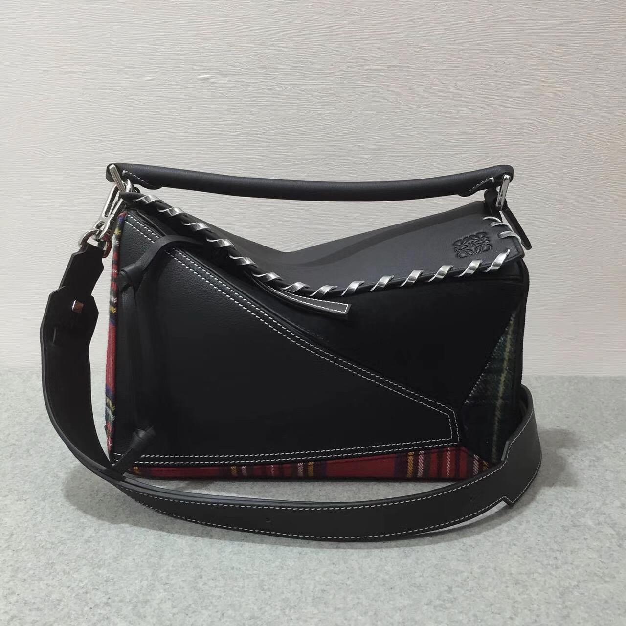 羅意威幾何包 loewe Puzzle Tartan Bag Black/Multicolor Tartan