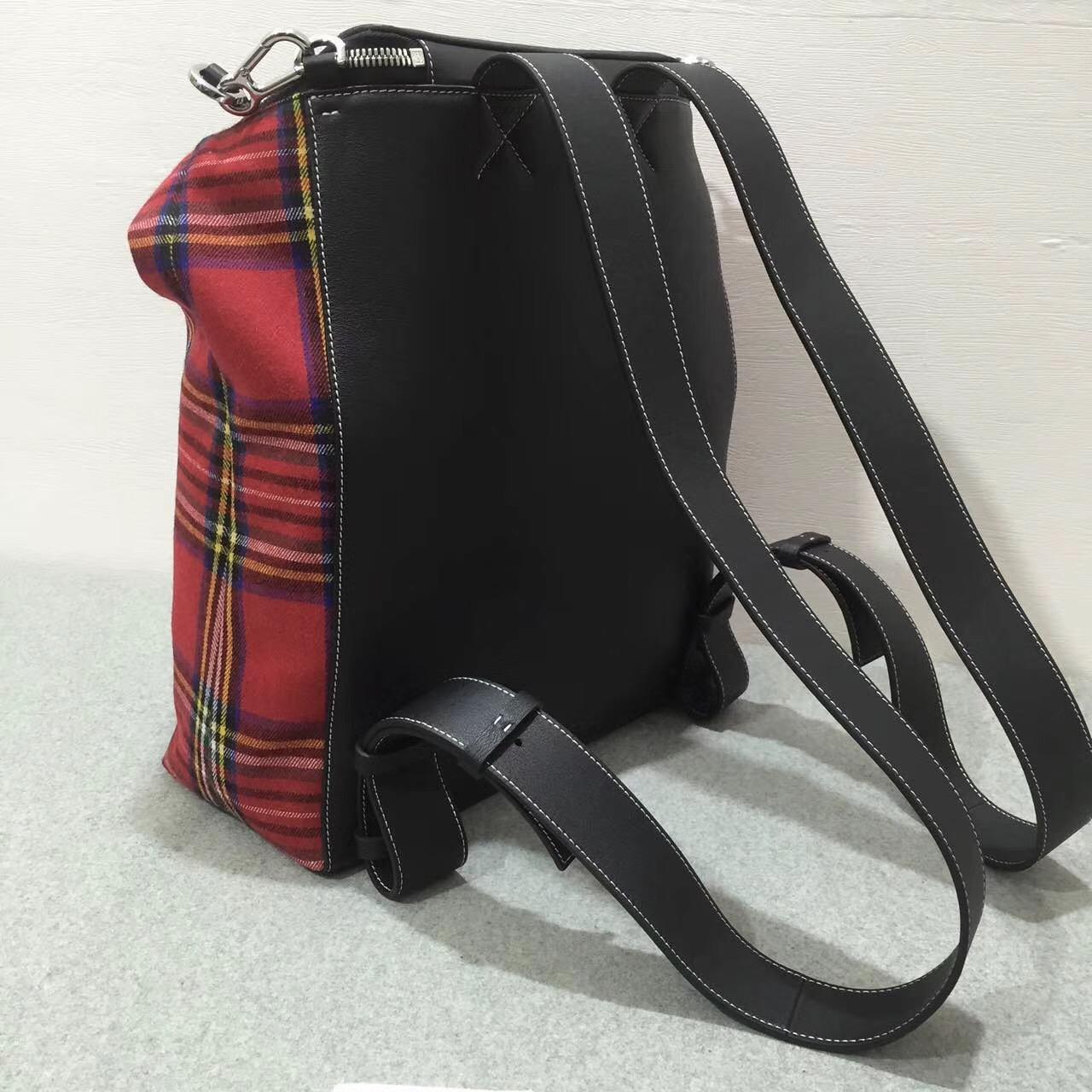 羅意威雙肩背包 loewe Goya Tartan Backpack Black/Red Tartan