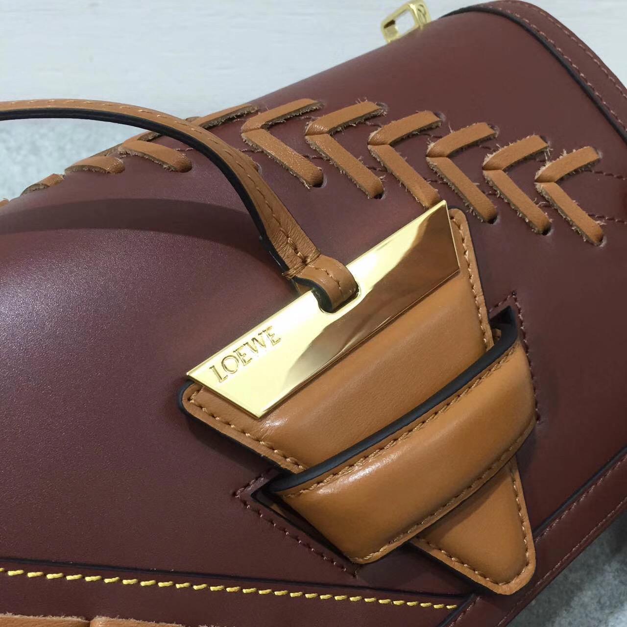 羅意威巴塞羅那包三角形包袋 Barcelona Laced Bag 小牛皮棕色