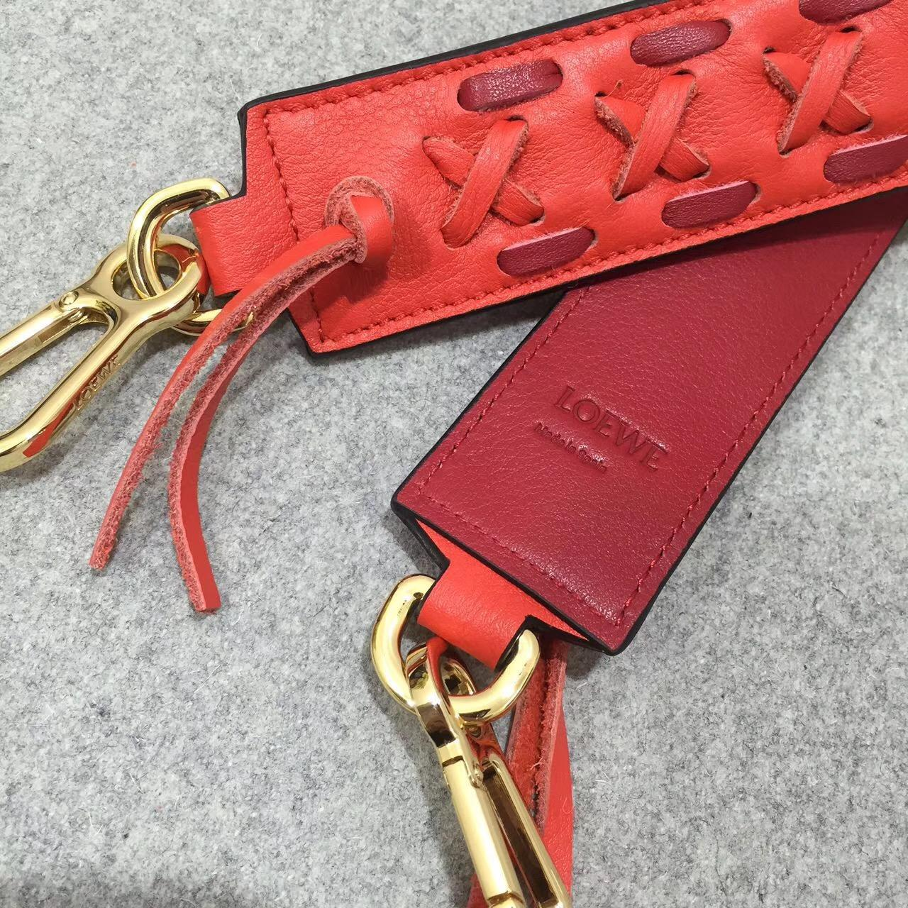 Loewe羅意威拼色編織肩帶 Laced Strap Rouge/Red