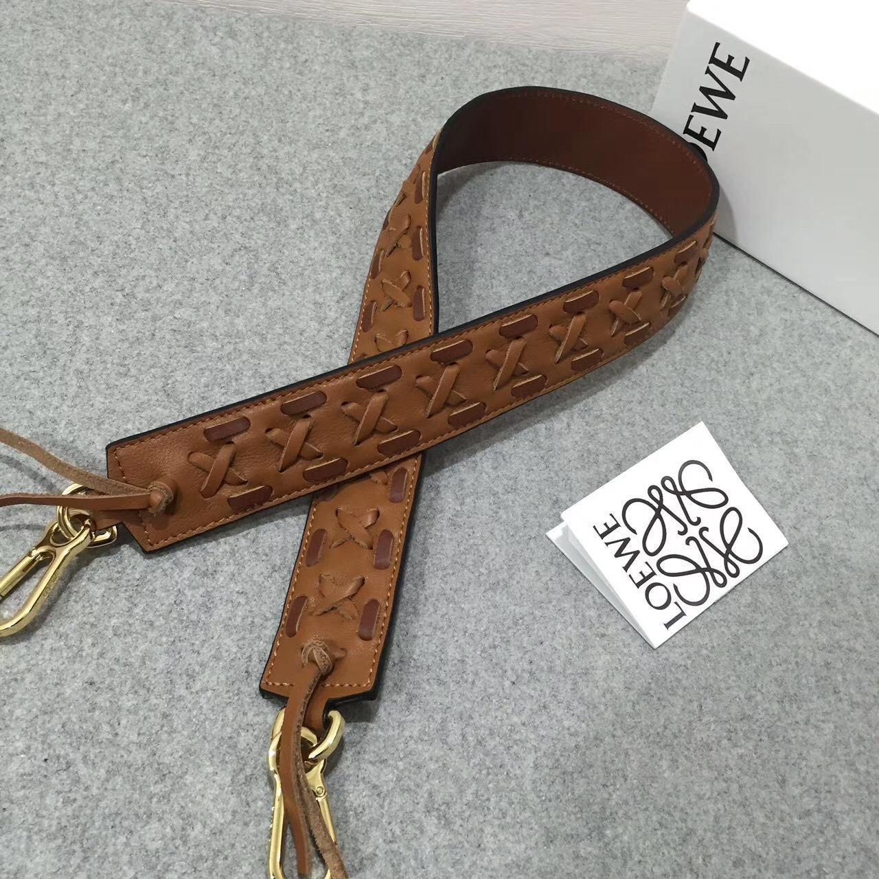 羅意威loewe Laced新款拼色編織肩帶 Strap 棕色
