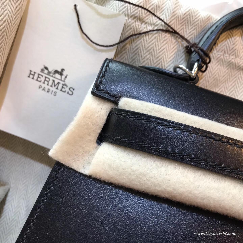 爱马仕minikelly二代 Hermes 凱莉包kelly 2代box黑色銀色金屬CK89 Nior