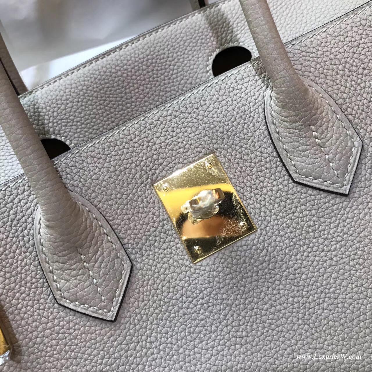 愛馬仕Hermes 鉑金包 Birkin 30 togo S2 風衣灰 米衣灰金銀扣