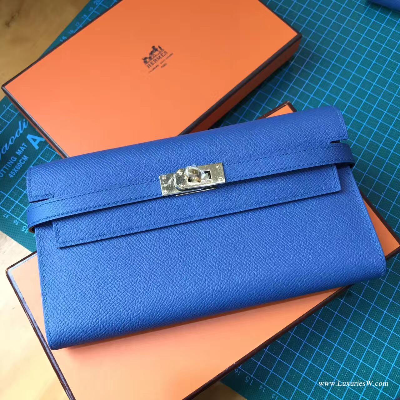 香港黃大仙區黃大仙 愛馬仕凱莉錢包 Hermes Kelly Epsom R2 Blue agate瑪瑙藍色錢夾