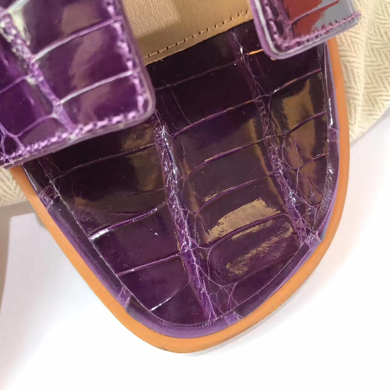 愛馬仕Hermes女士涼鞋 鱷魚霧面H型拖鞋 水晶葡萄紫 平底涼拖鞋