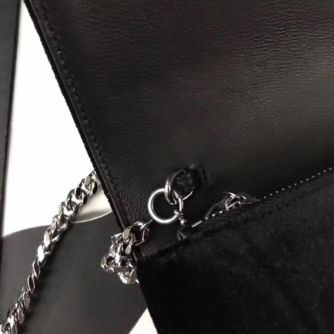 KATE chain and tassel wallet in black velvet and crystals