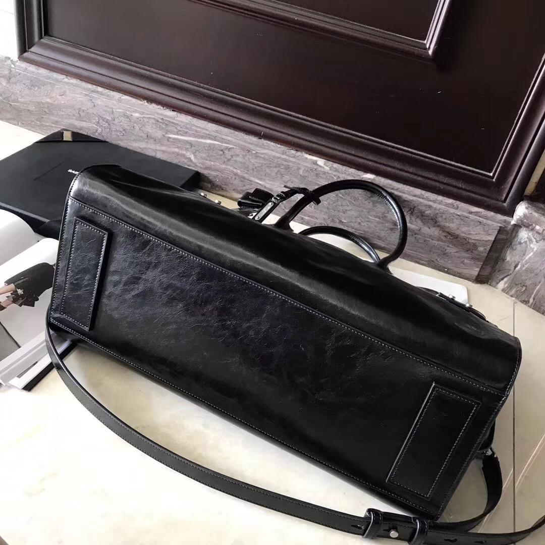 聖羅蘭 油蠟牛皮SAC DE JOUR SOUPLE 36 duffle bag in black moroder leather