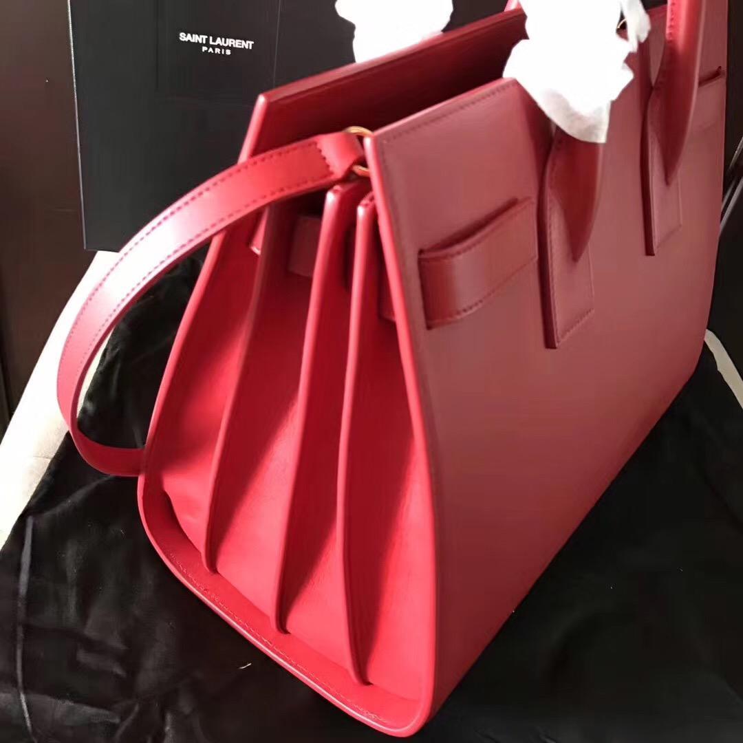 經典風琴包 SAC DE JOUR 大紅色平紋真皮手袋