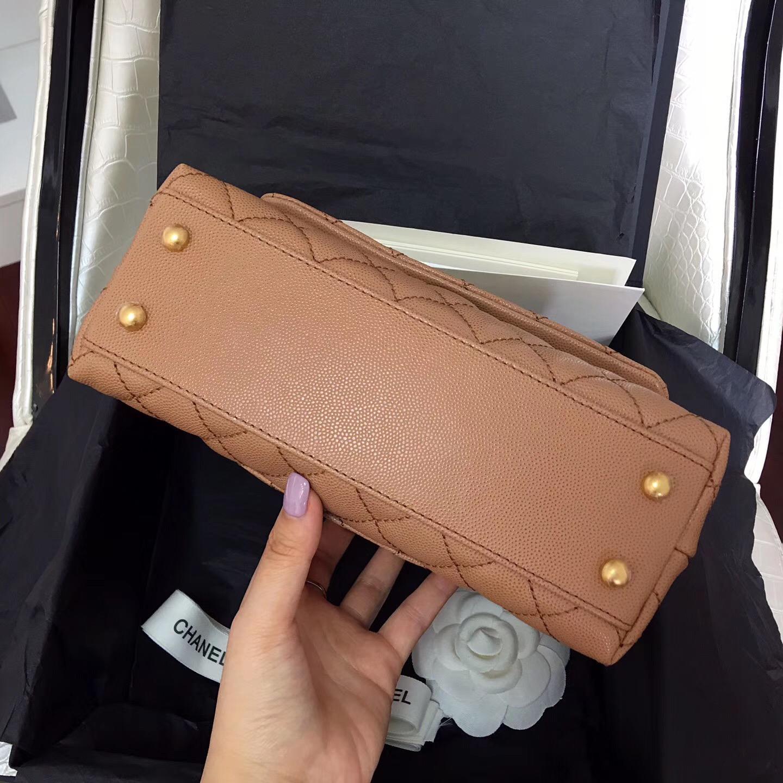 小香復古手提包coco handle bag 小號23cm 小牛皮 焦糖色手袋