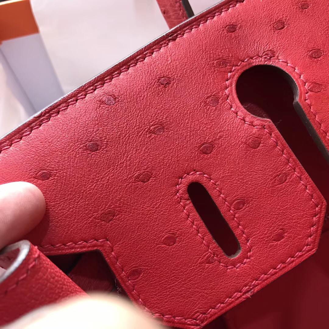 奢侈品包 鉑金包Birkin 30cm 鴕鳥Q5 Rouge Cossacks 中國紅銀扣