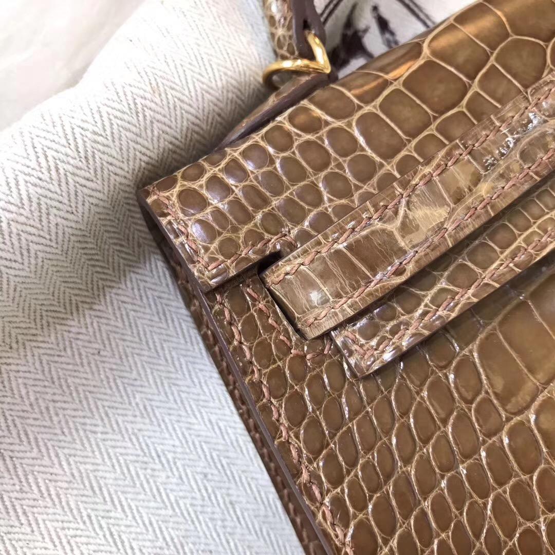 愛馬仕最早的包袋系列 Mini凱莉包 Kelly 2代鱷魚光面 Alezan純棕色