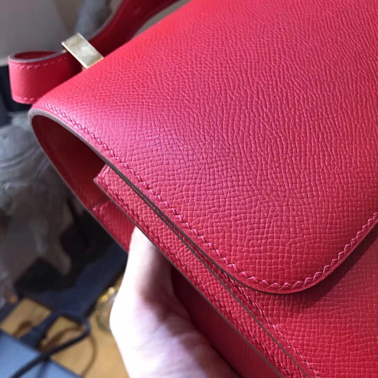 最難買的包袋Constance 24 Epsom Q5 Rouge Cossacks 中國紅 金扣