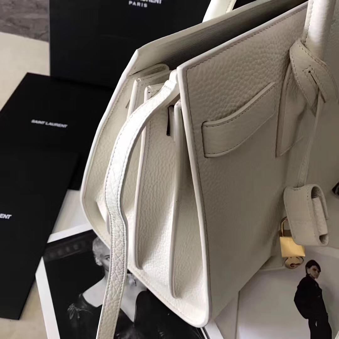 YSL風琴包26cm SAC DE JOUR 白色荔枝紋真皮手袋