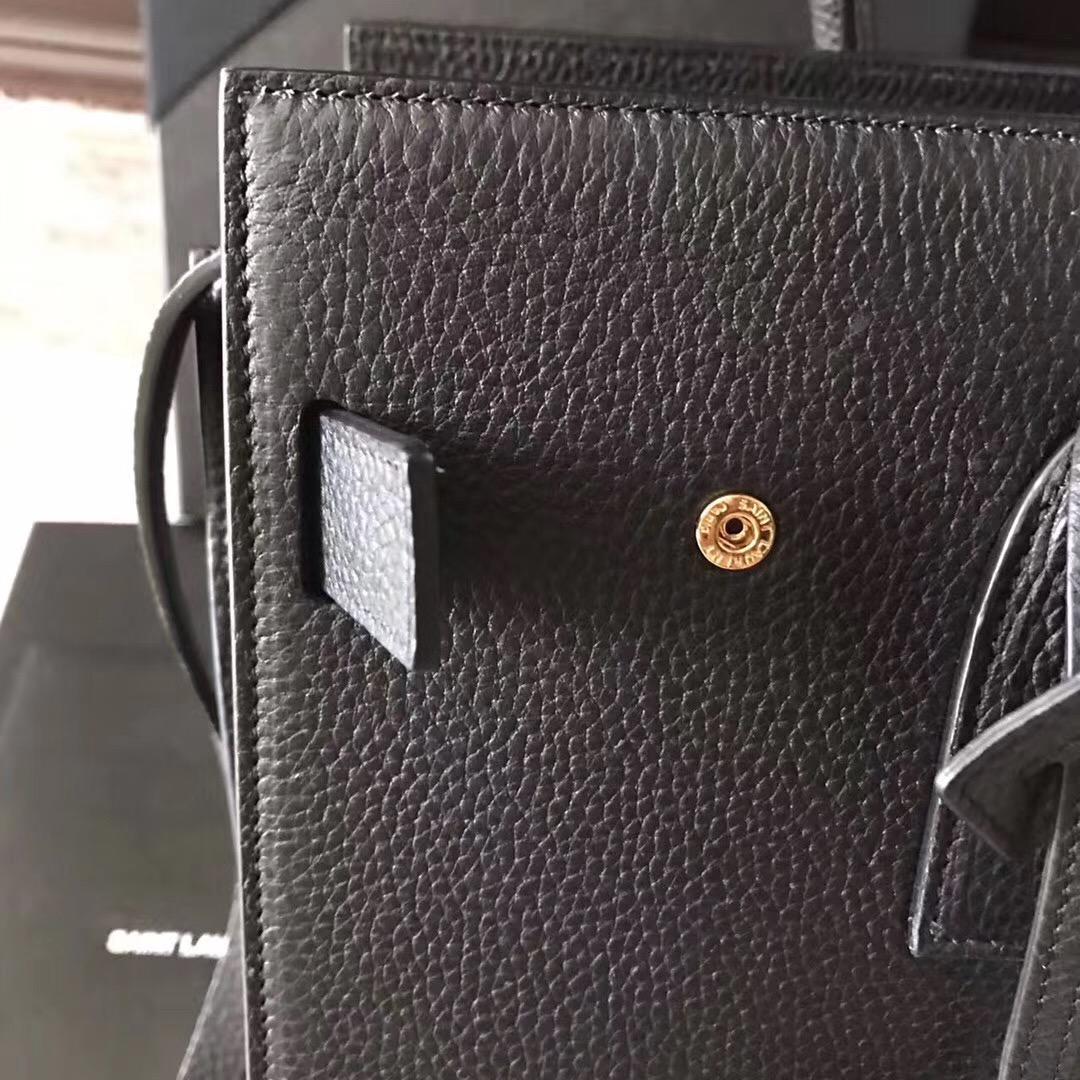 YSL風琴包 SAC DE JOUR 黑色颗粒荔枝紋真皮手袋