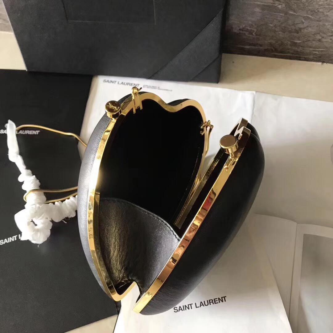聖羅蘭YSL SAINT LAURENT 黑色真皮心形手袋 真皮LOVE箱形袋