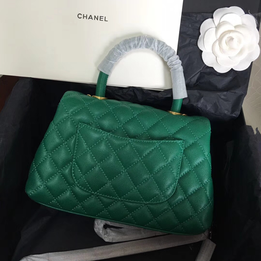 coco handle bag 小號23cm 小牛皮魚子醬绿色 小香復古手提包
