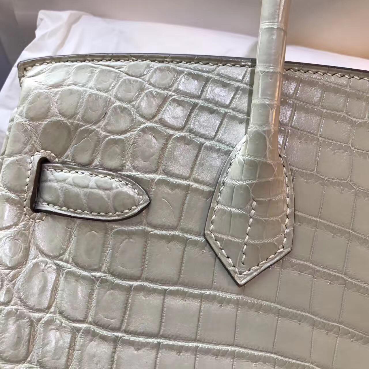 Hermes最出名的包袋鉑金包 Birkin 30鱷魚霧面 3C Parchemin 羊毛白金扣