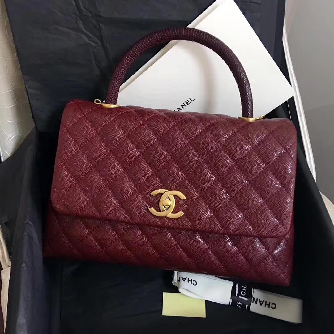 小香復古手提包coco handle bag 中號28cm 小牛皮酒紅色 蜥蜴皮手柄