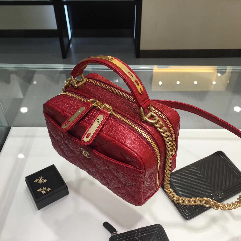 Chanel bowling bag 2017款小號保齡球包 大紅色 小牛皮魚子醬紋