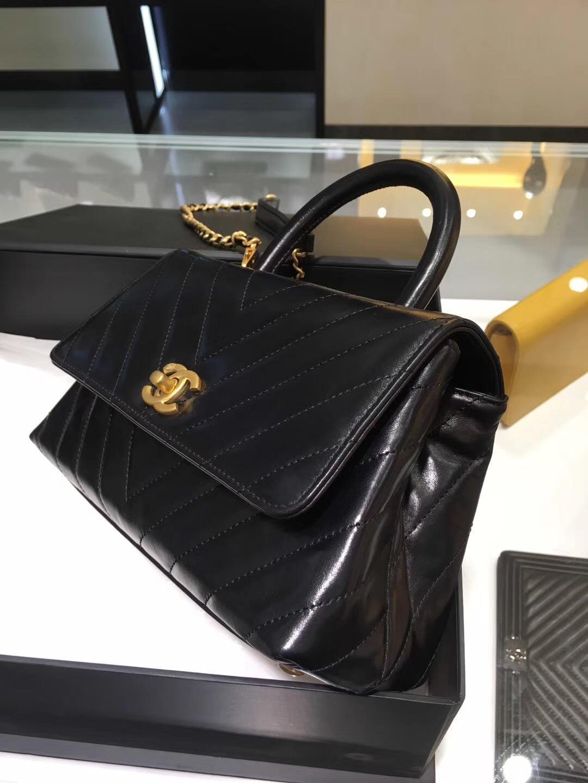 香奈兒 黑色油臘皮 復古手提包coco handle bag 小號23cm
