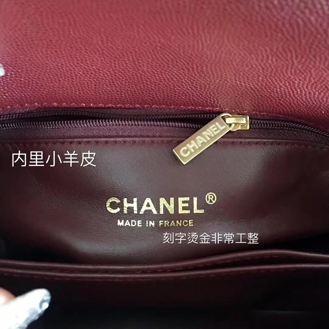 小香復古手提包coco handle bag 小號23cm 小牛皮酒紅色 蜥蜴皮手柄