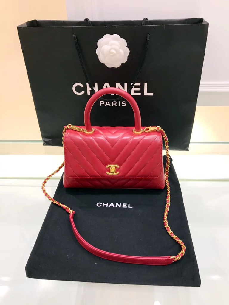 小香復古手提包coco handle bag 小號23cm油臘皮手袋 紅色