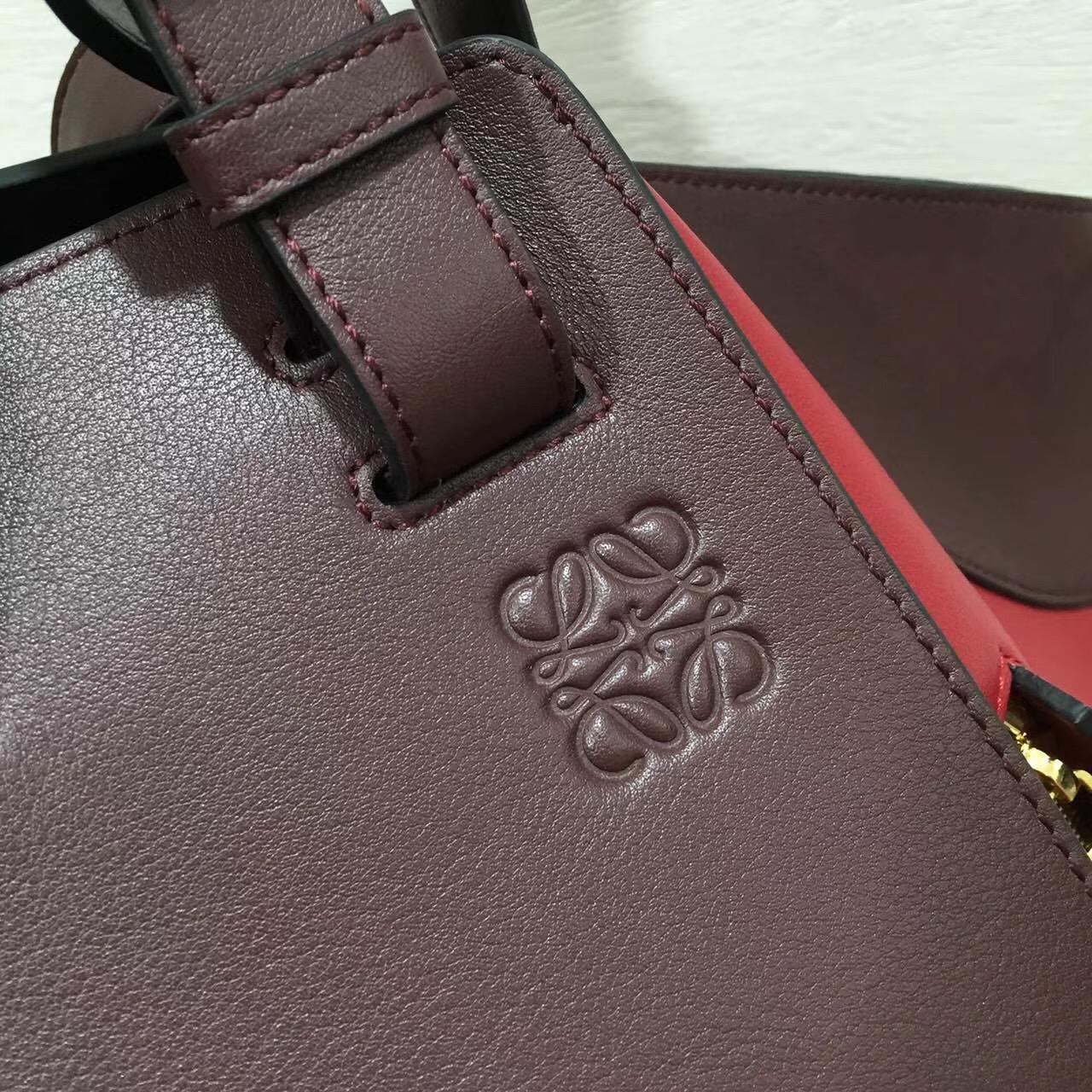 羅意威loewe Hammock Bag 最新拼色 大號進口牛皮酒红色