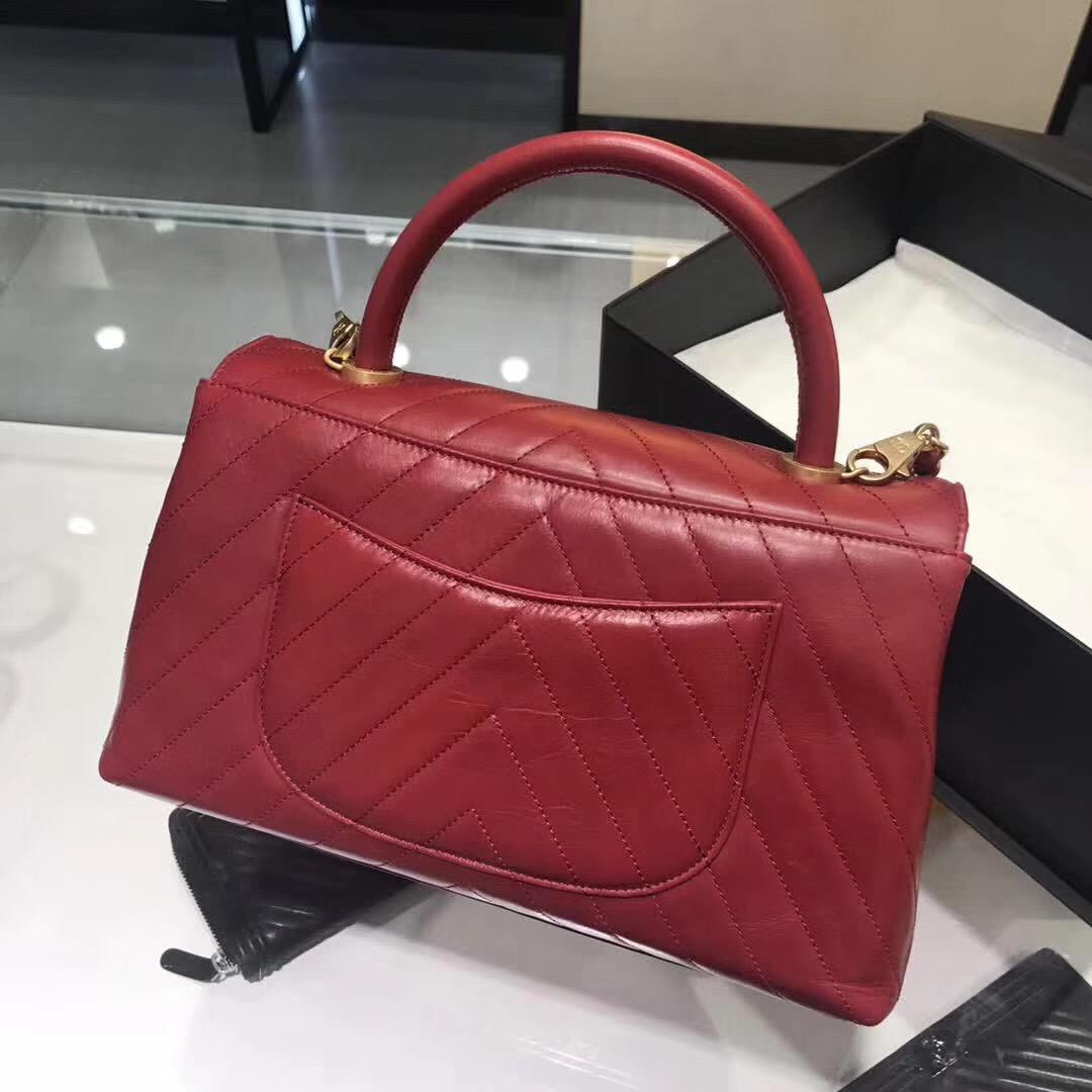 小香復古 红色油臘皮手提包coco handle bag 中號28cm