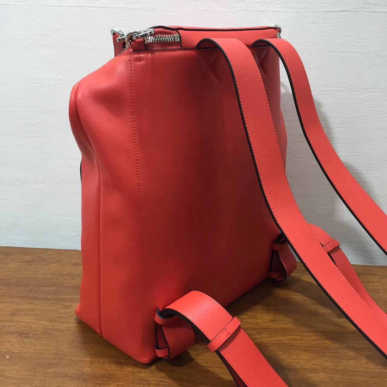 loewe 羅意威包包官網 Goya Backpack 橘红色 經典小牛皮 Goya背包