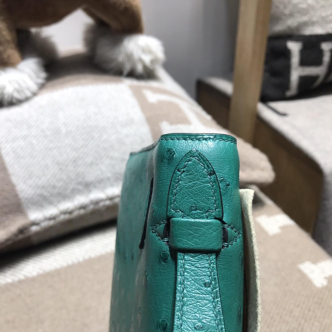 愛馬仕凱莉包 Hermes Mini kelly u4 絲絨綠 vert vertigo 金扣金屬