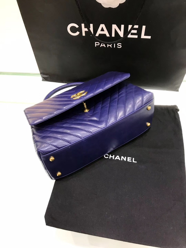 小香復古手提包coco handle bag中號28cm 宝蓝色油臘皮手袋