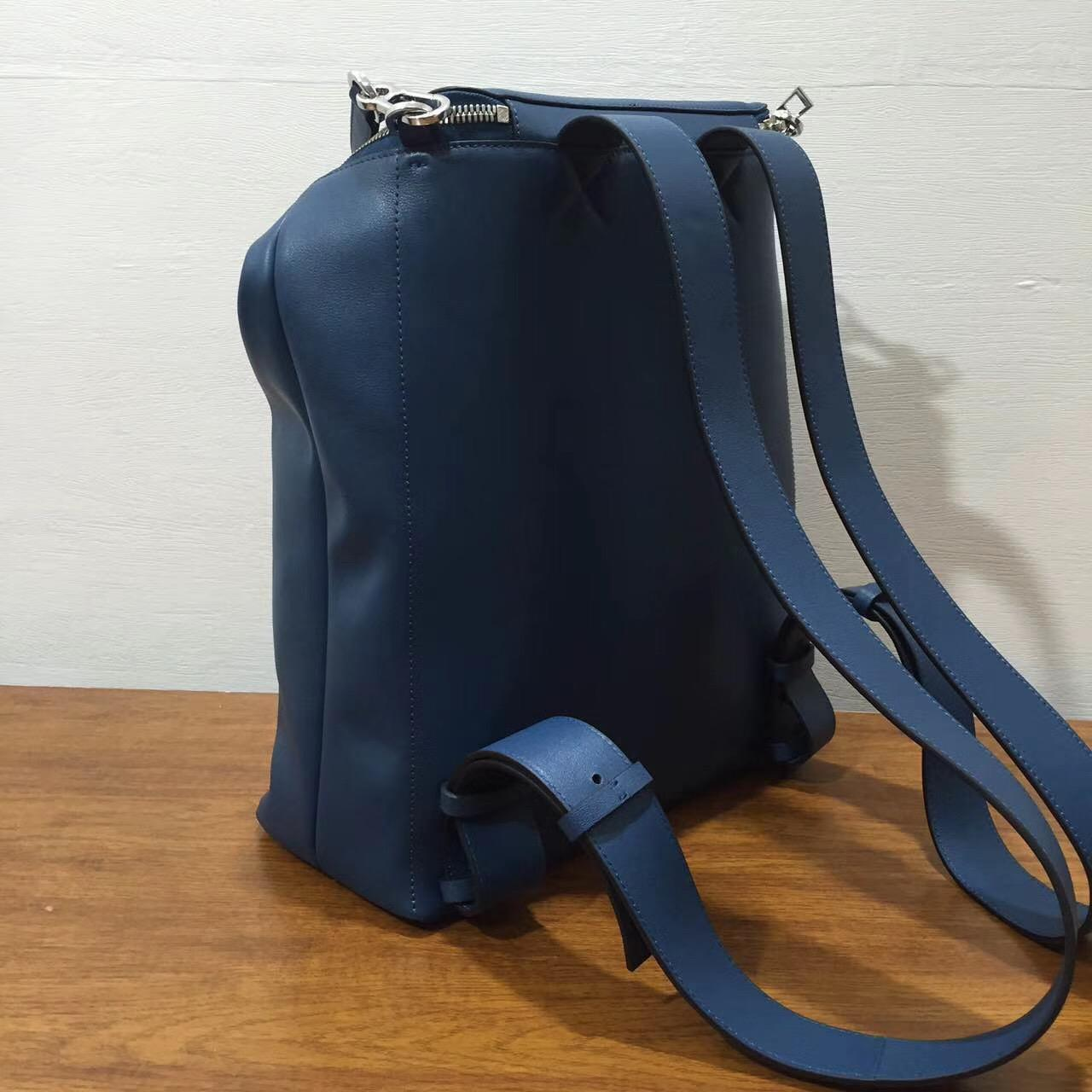 loewe羅意威Goya Backpack bag 蓝色 小牛皮 Goya男士双肩背包