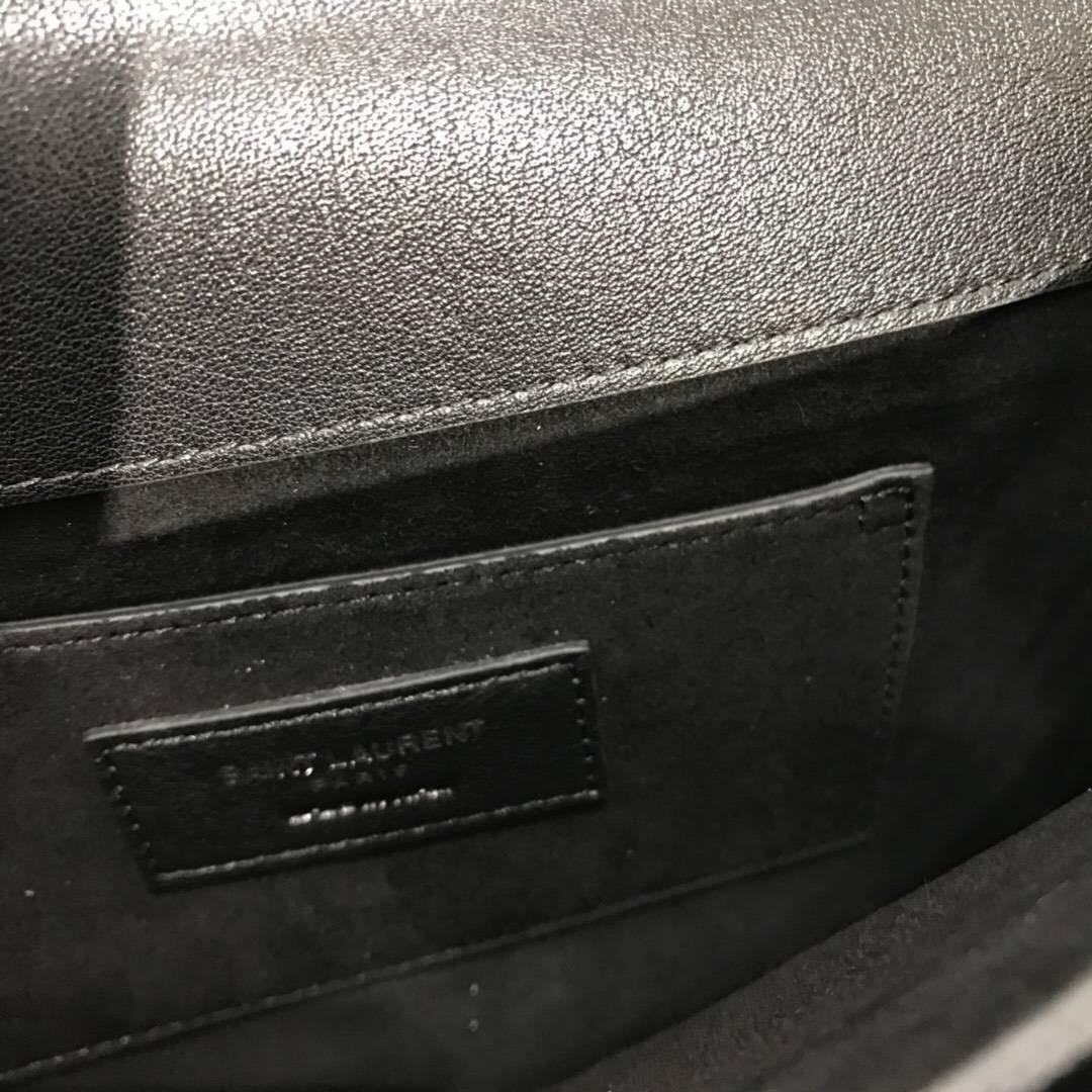 Saint Laurent 中號SUNSET MONOGRAM黑色真皮包 釘釘黑色心型