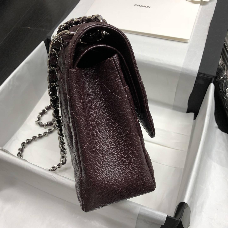 Chane.' Classic Flap Bag A58600大號口蓋包 深啡色顆粒小牛皮