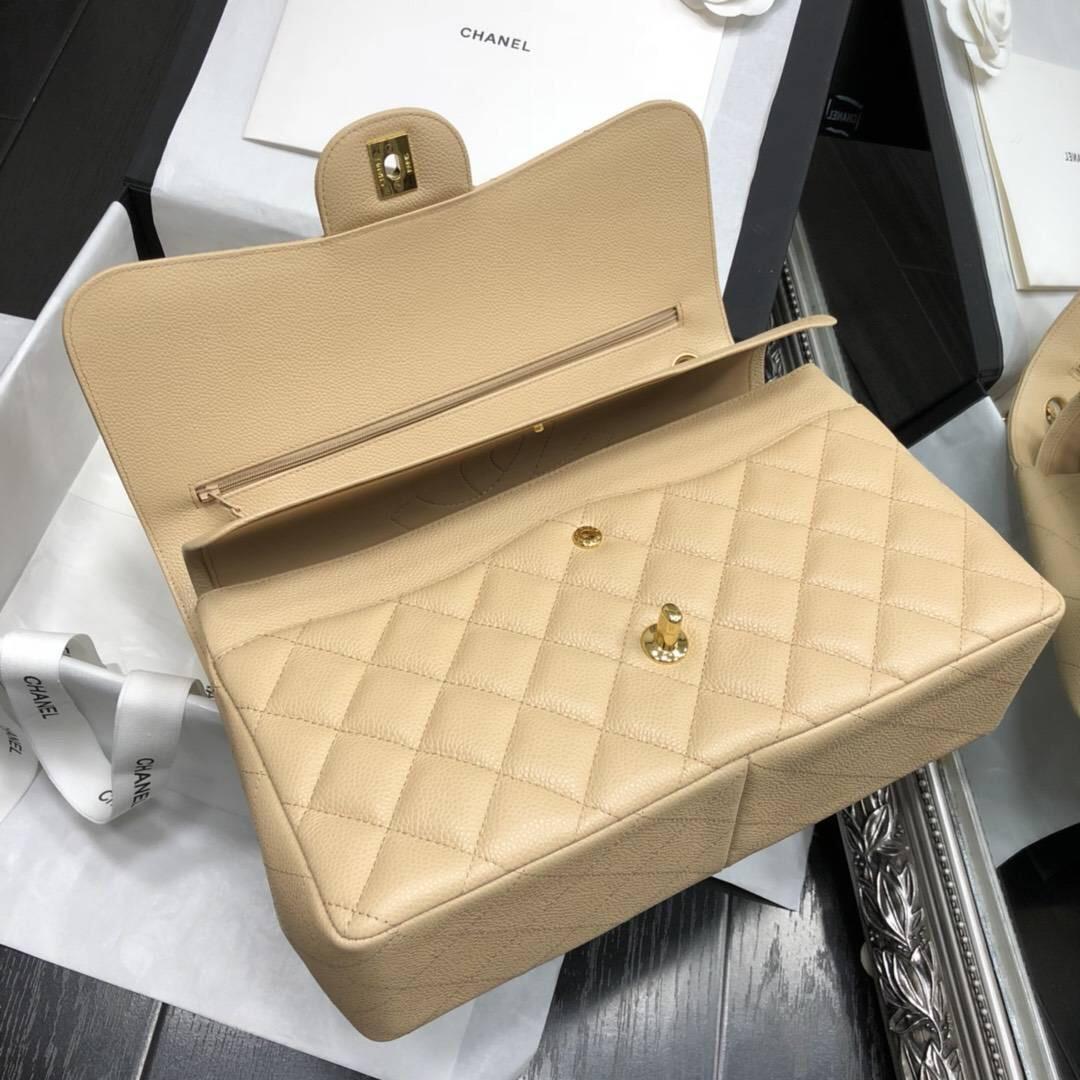 Chane.' Classic Flap Bag A58600大號口蓋包 杏色顆粒小牛皮