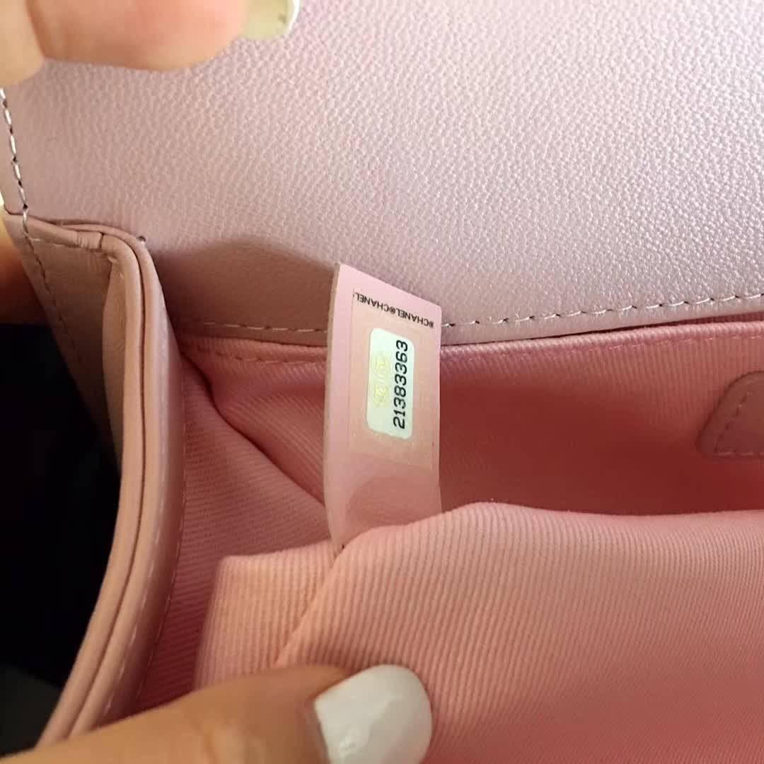 小香口盖包 Le boy bag 25cm 進口小羊皮櫻花粉色金色金屬