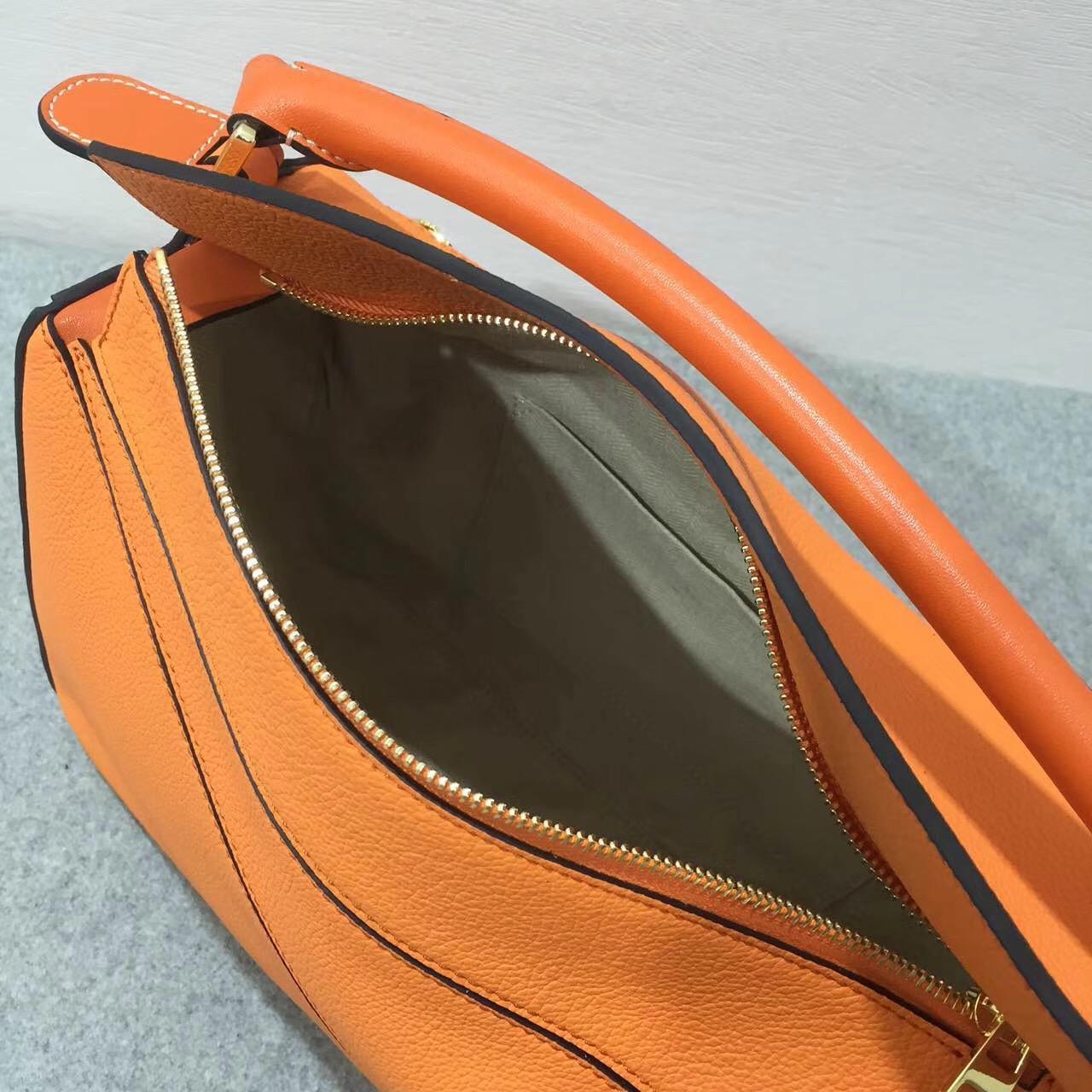 Loewe羅意威中號幾何包 Puzzle Bag 顆粒小牛皮 Apricot/Orange