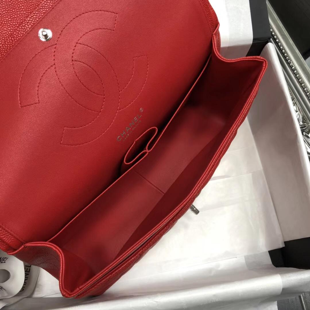 小香Chane.' Classic Flap BagA58600大號口蓋包 红色顆粒小牛皮