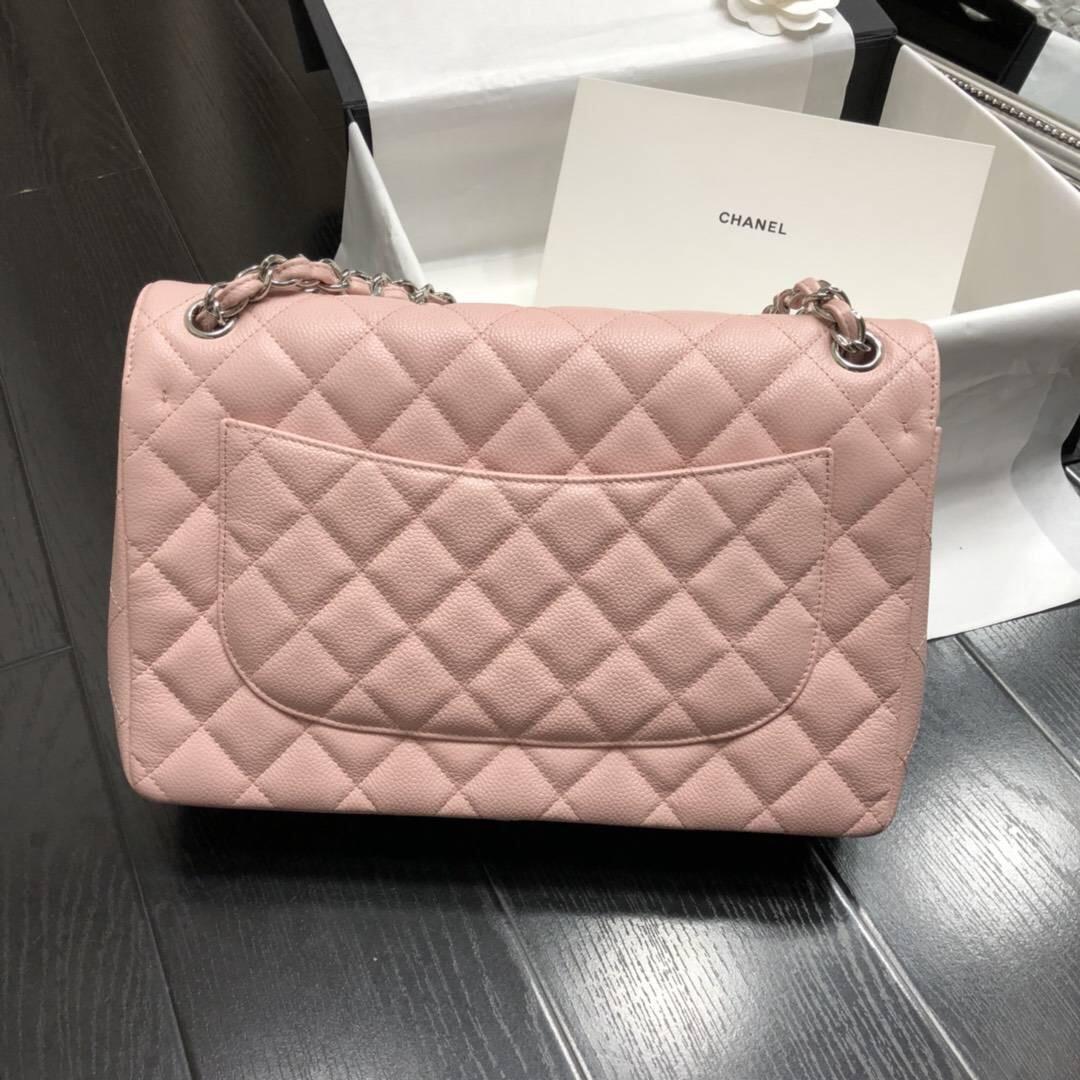 Chane.' Classic Flap Bag A58600大號口蓋包 粉色顆粒小牛皮