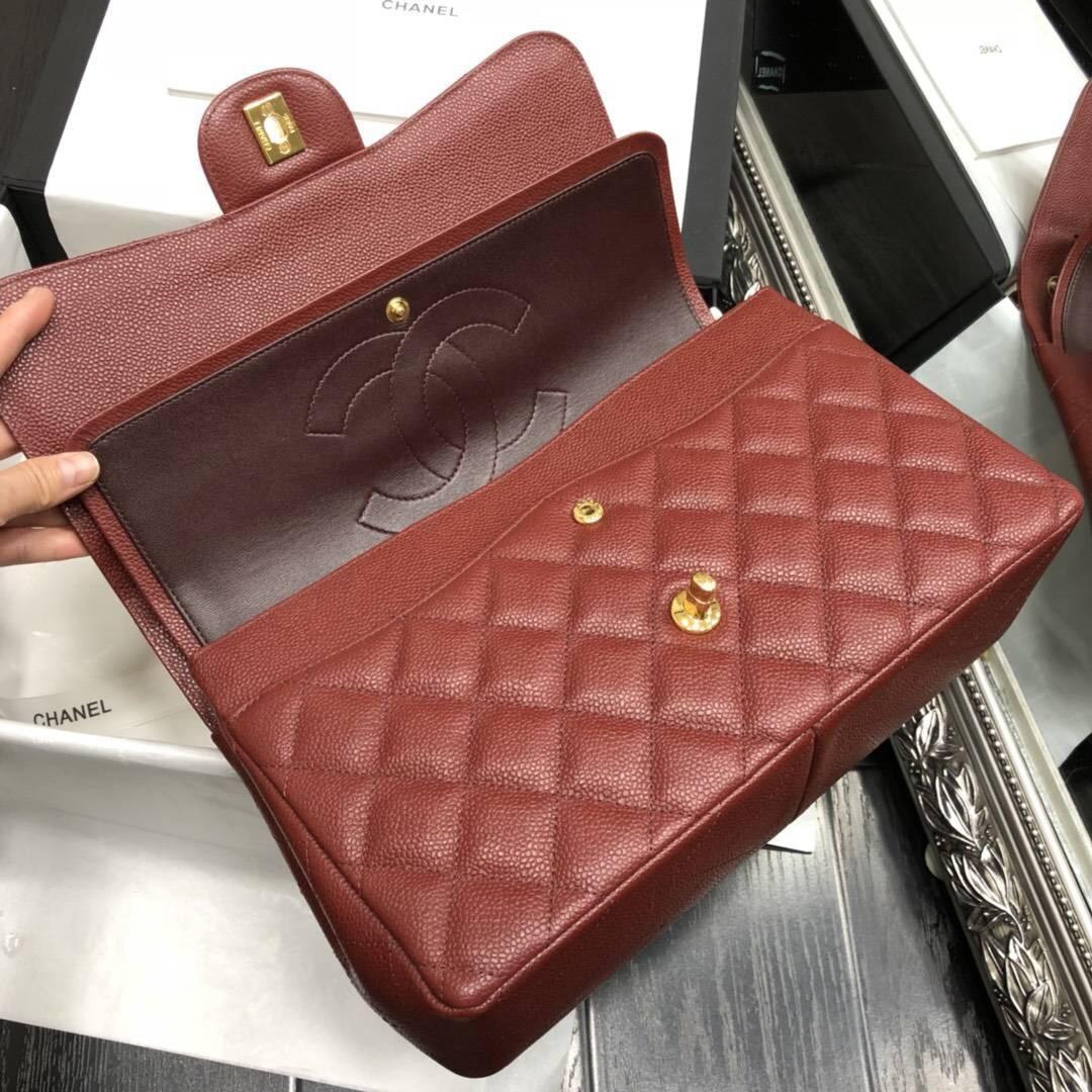 Chane.' Classic Flap Bag A58600大號口蓋包 酒紅色顆粒小牛皮