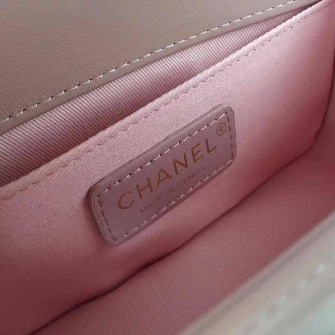 小香口盖包 Le boy bag 20cm 進口小羊皮櫻花粉色金色金屬