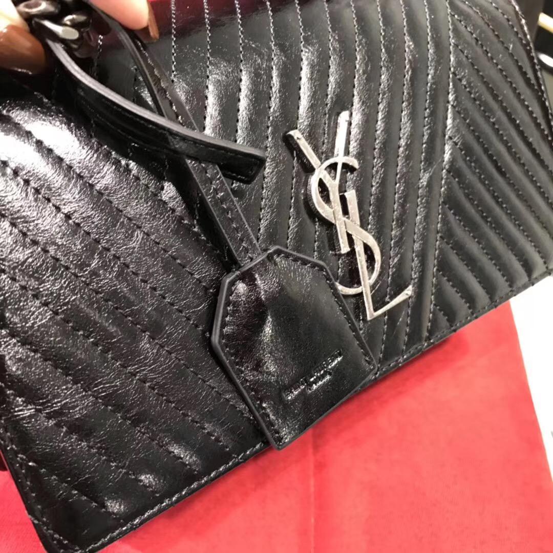 Saint Laurent SUNSET中號黑色條紋真皮包 單肩斜跨多用鏈條包