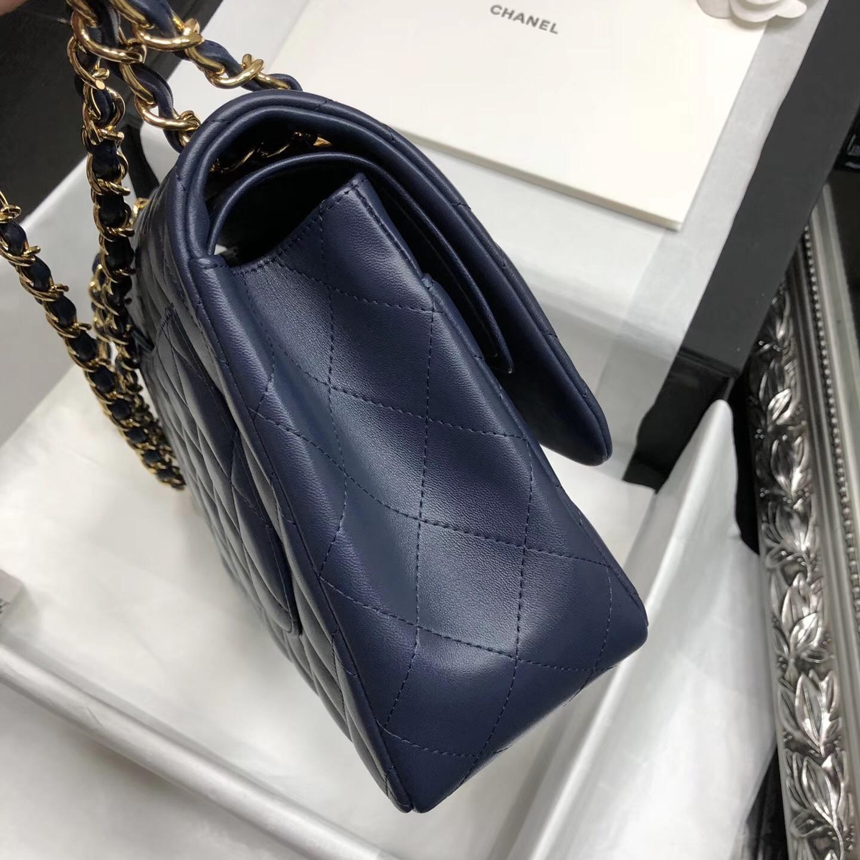 Chane. Classic Flap Bag A58600大號經典口蓋包 海軍藍色小羊皮
