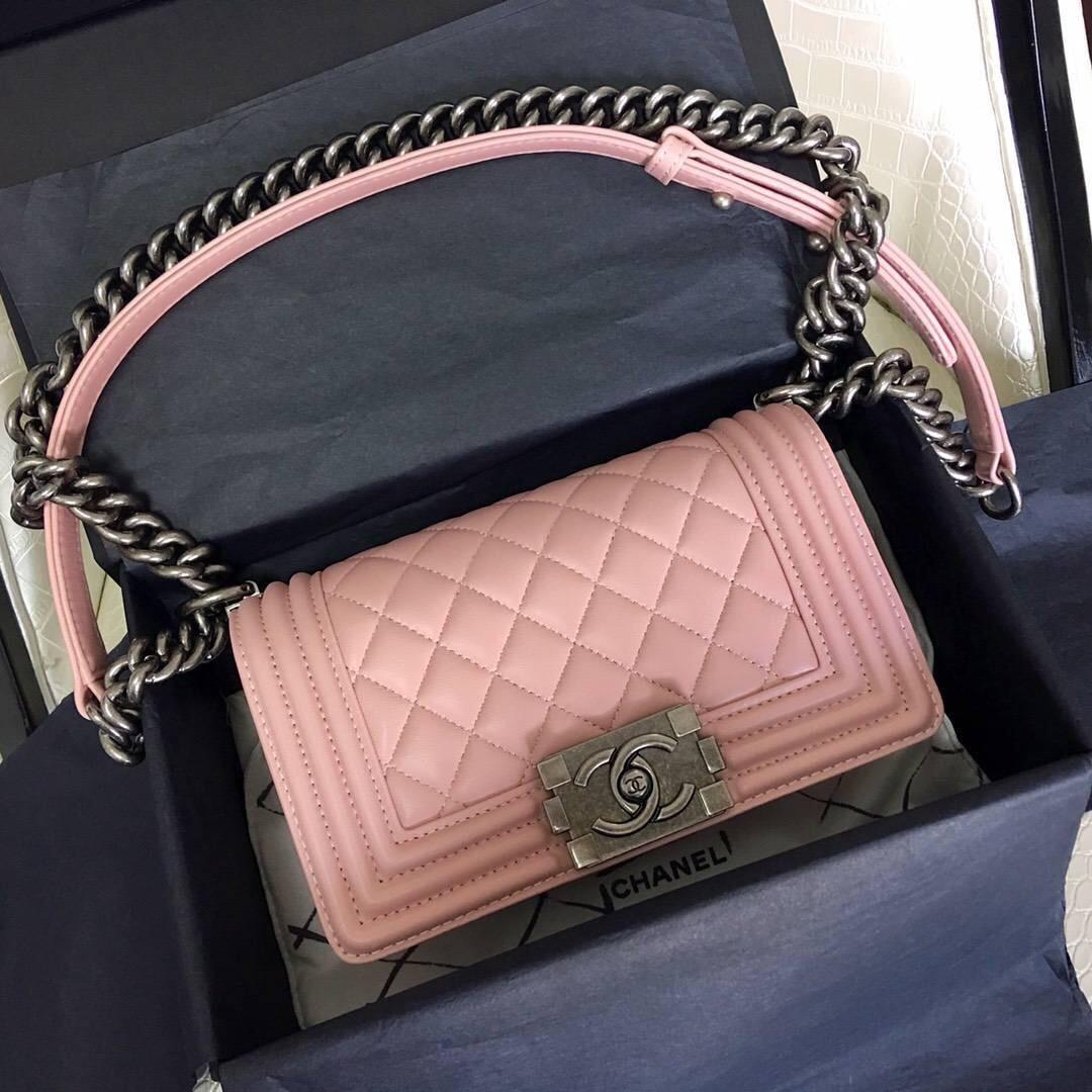 小香口盖包 Le boy bag 20cm 進口小羊皮櫻花粉色银色金屬