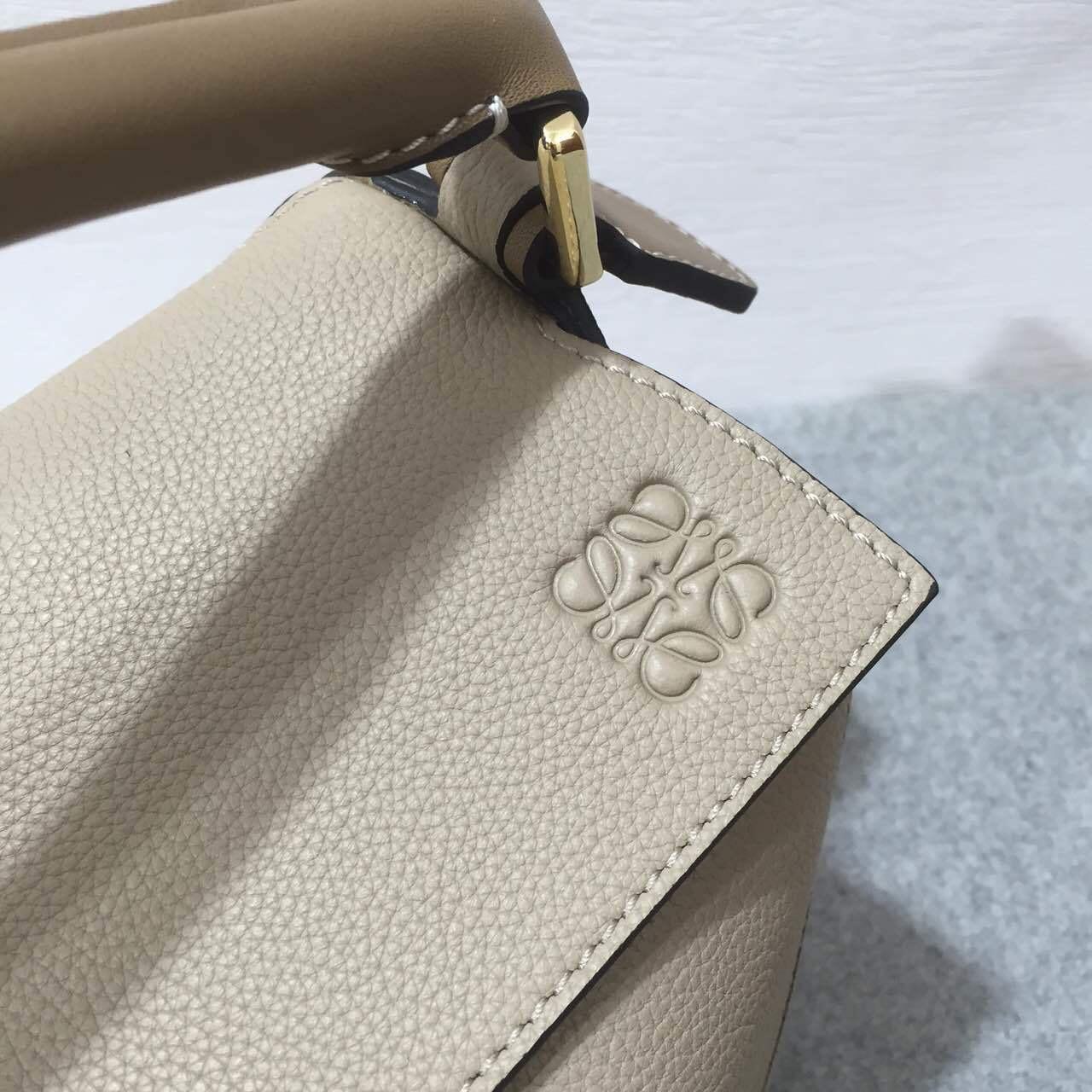 Loewe羅意威小號幾何包 Puzzle Small Bag Sand/Mink Colour 顆粒小牛皮