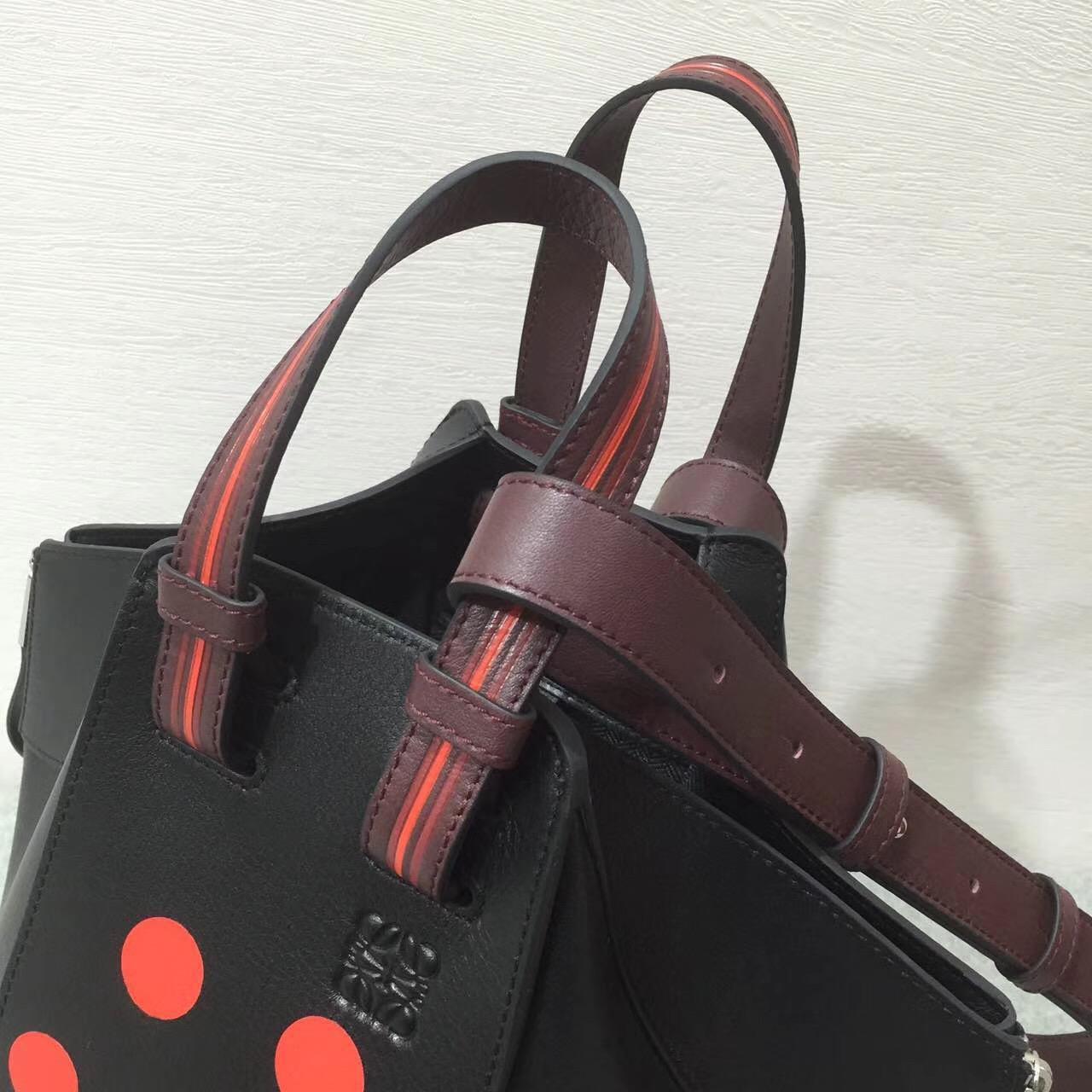 Loewe羅意威Hammock Circles Small Bag Black/Red/Oxblood