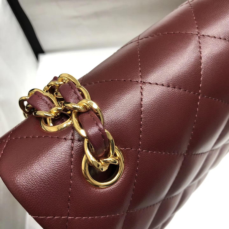 Chane. Classic Flap Bag A58600大號經典口蓋包 酒红色小羊皮