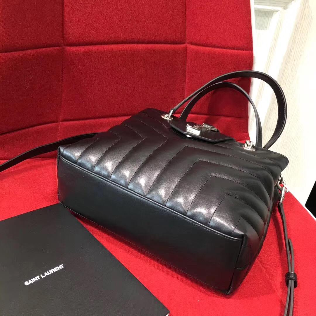 Saint Laurent 小號LOULOU MONOGRAM黑色Y形絎縫真皮購物袋 链条包